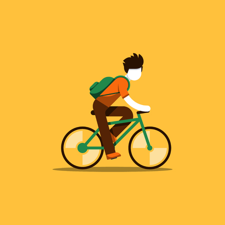 commuting: Man in casual dress cycling, student commuting by bicycle, daily riding by bike to business, isolated vector flat design illustration Illustration