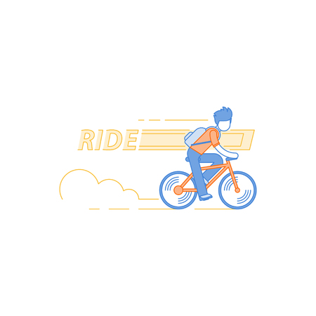 Man in casual dress cycling, student commuting by bicycle, daily riding by bike to business, isolated flat design illustration Illustration