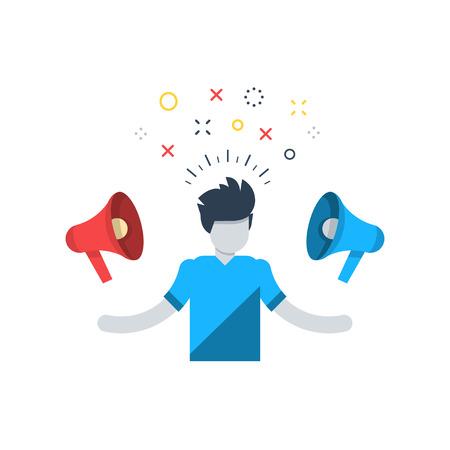 Bons conseils Bad considérant, choisir entre deux côtés, la consommation de l'information des médias, des notifications excessives, le spam attaque, campagne marketing, pression mentale Banque d'images - 60569105