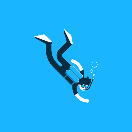 Diver deep under water, diving training course, open sea Illustration