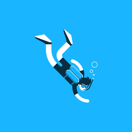 training course: Diver deep under water, diving training course, open sea Illustration