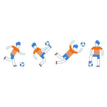 Soccer team uniform, different football players kicking ball, goalkeeper catching ball, defender, forward, midfielder. Flat design vector illustration, isolated on white Illustration