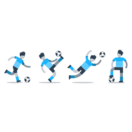Soccer team uniform, different football players kicking ball, goalkeeper catching ball, defender, forward, midfielder. Flat design vector illustration, isolated on white Illusztráció