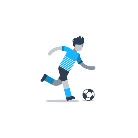 agile: Soccer team uniform, football player kicking ball, defender, forward, midfielder. Flat design vector illustration, isolated on white