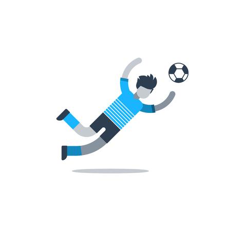Soccer team uniform, football player, goalkeeper catching ball. Flat design vector illustration, isolated on white Illusztráció