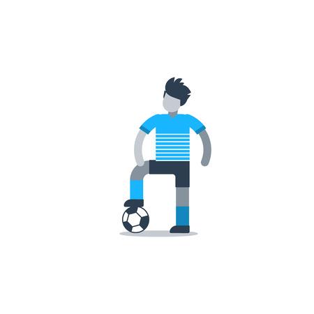 Voetbalteam uniform, voetbalster, verdediger, vooruit, middenvelder. Platte ontwerp vector illustratie, geïsoleerd op wit