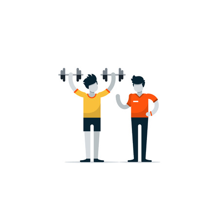 personal training: Personal training, workout session in gym, sport instructor, professional coaching concept. flat design illustration isolated on white Illustration