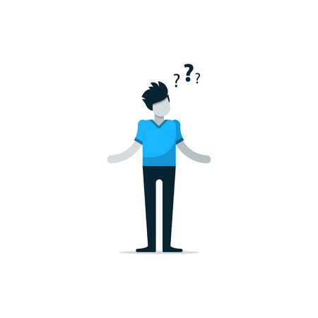 Questioning person, confused man, uncertainty concept, thinking on problem