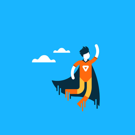 hero flying, fast delivery, encouragement and motivation concept, aspiring person