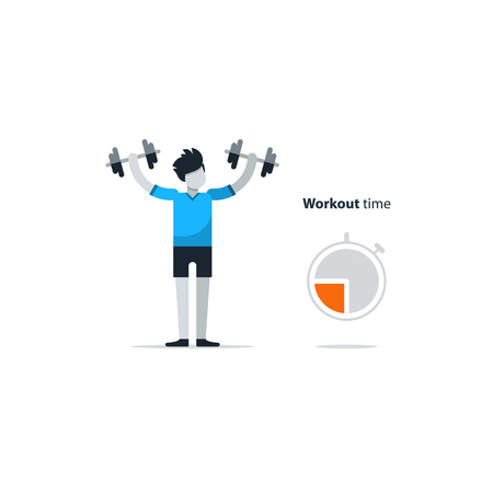session: Workout session, daily exercises, fitness time, dumbbell push-ups