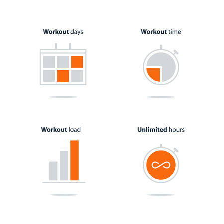 Sports gym, workout session, daily schedule arrangements, icons set