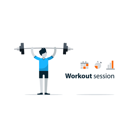 session: Workout session, exercises in gym, fitness time, barbell push-ups, isolated on white, sport concept