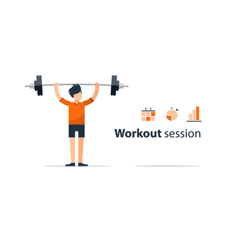 buildup: Workout session, exercises in gym, fitness time, barbell push-ups, isolated on white, sport concept