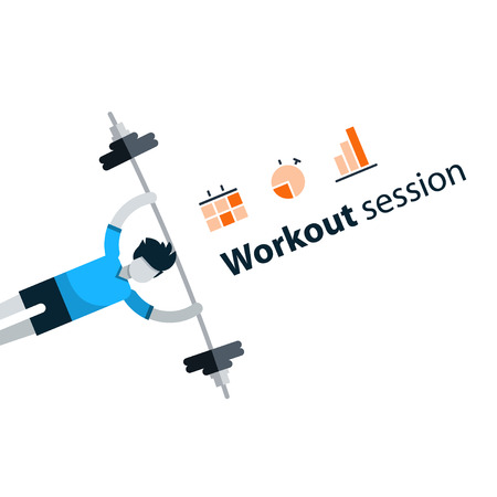 Workout session, exercises in gym, fitness time, barbell push-ups