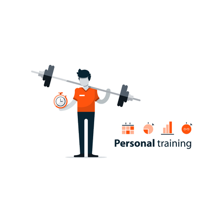 Personal training, workout session in gym, sport instructor, professional coaching concept. flat design illustration isolated on white Illustration