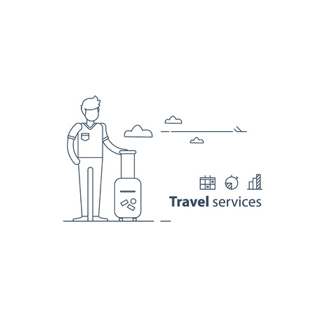 tour operator: Travel services concept, traveler at the airport, summer holiday, vacation arrangements, passenger with baggage waiting flight. Flat design illustration