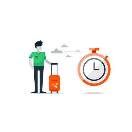 Llegada y de salida, área de espera de escala en el aeropuerto, viajar temporada, el concepto de duración temporal, la hora de entrada. ilustración diseño plano