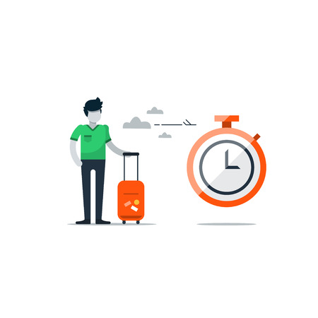 Arrival and departure time, layover waiting area in airport, season travel, vacation duration concept, check in time. Flat design illustration