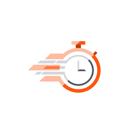 quickly: Fast time concept, rush hour logo, training session icon. Flat design illustration