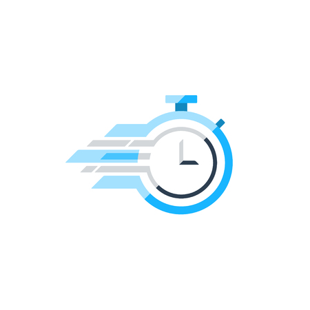 Fast time concept, rush hour , training session icon. Flat design illustration