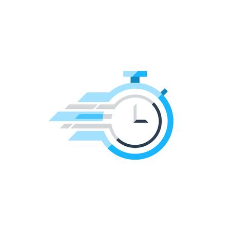 le concept rapide de temps, l'heure de pointe, session de formation icône. Design plat illustration