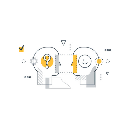 Psychology education concept, linear design illustration on white background Vectores
