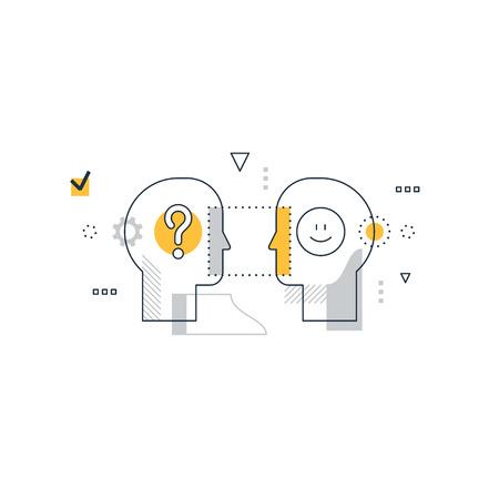 Psychology education concept, linear design illustration on white background Stock Illustratie