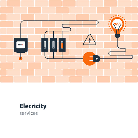 Flat design vector illustration. Electricity graphic elements