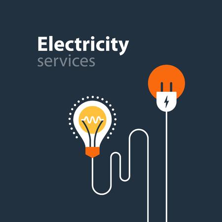 power failure: Flat design vector illustration. Electricity graphic elements