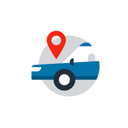 Blue sedan in a circle with location mark. Flat design vector illustration Illustration