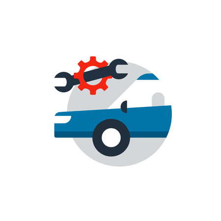 Blue car in a circle with wrench and gear wheel. Flat design vector illustration Illustration