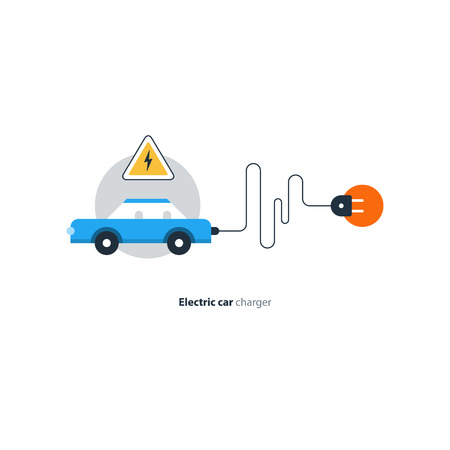 Blue car in a circle with attention sign. Flat design vector illustration