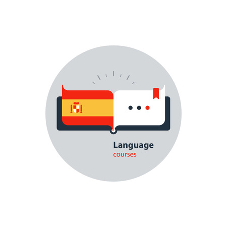 fluency: Advertising concept lingual classes. Flat design vector illustration Illustration