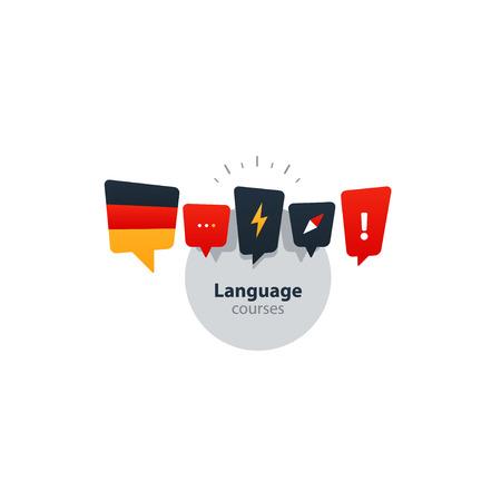 talking dictionary: Advertising concept lingual classes. Flat design vector illustration Illustration