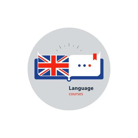 Advertising concept lingual classes. Flat design vector illustration Stock Illustratie