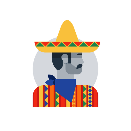 mexican ethnicity: Flat design illustration. Male character turned head