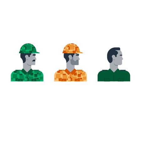 Flat design  illustration. Male character turned head Illustration