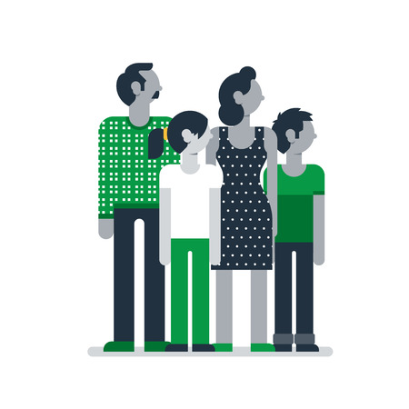 standing together: Flat design  illustration on white. Family outfit