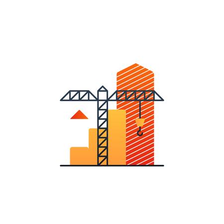 Flat design  illustration. Building concept, finance strategy