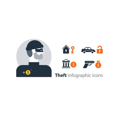 burglary: Flat design  illustration. Male character turned head Illustration