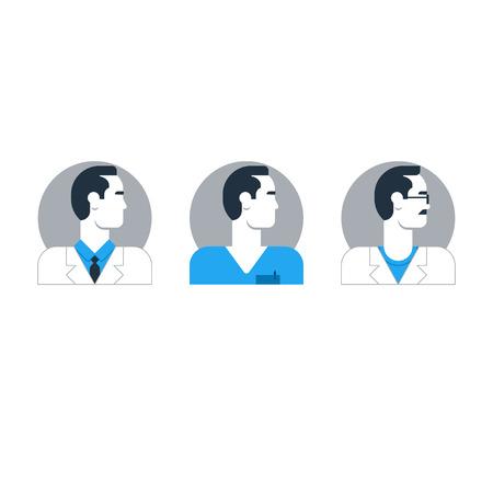 general practitioner: Flat design  illustration. Male character turned head Illustration