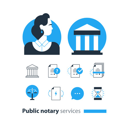 notary: Flat design  illustration. Public notary concept Illustration