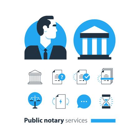 attest: Flat design  illustration. Public notary concept Illustration