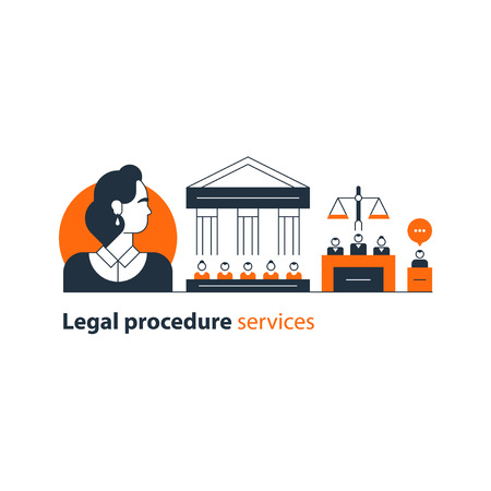 Flat design illustration. Court house trial case