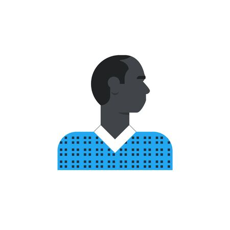 Flat design illustration. Male character turned head Vector Illustration