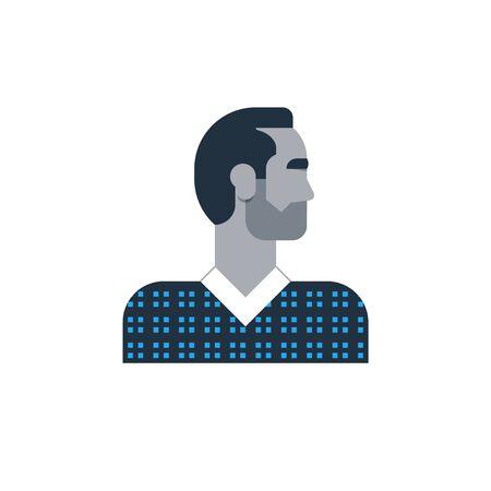 Flat design  illustration. Male character turned head 矢量图像