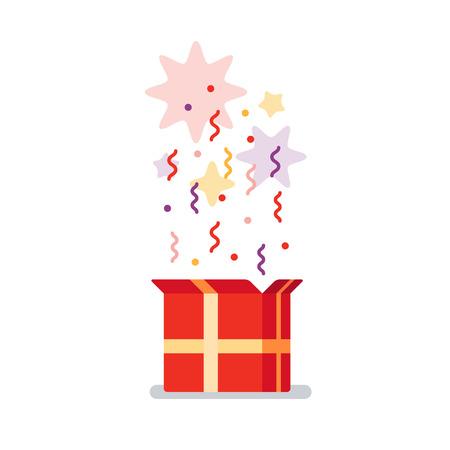 Flat design illustration. Celebration event, surprising gift