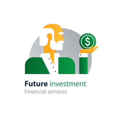 retired: Flat design  illustration. Retirement payment, pension fund Illustration