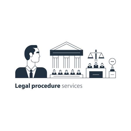 Flat design vector illustration. Court house trial case Vektorové ilustrace