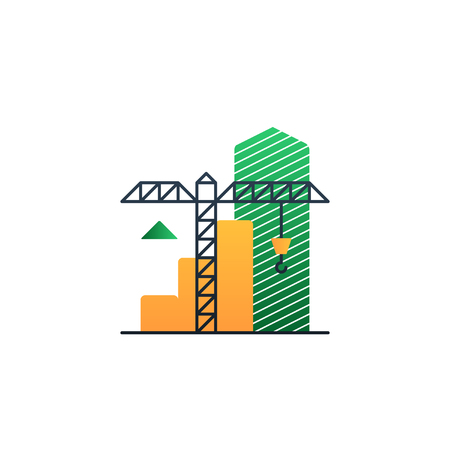 mortgage rates: Flat design vector illustration. Building concept, finance strategy